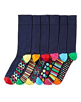Pack of 6 Navy Geo Heel Print Socks