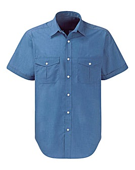 Premier Man Blue Short Sleeve Pilot Shirt Regular