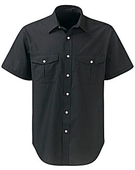 Premier Man Black Short Sleeve Pilot Shirt Regular