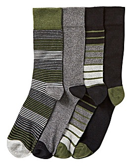 Pack of 4 Stripe & Plain Socks