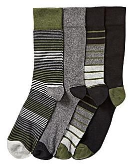 Pack of 4 Stripe & Plain Socks