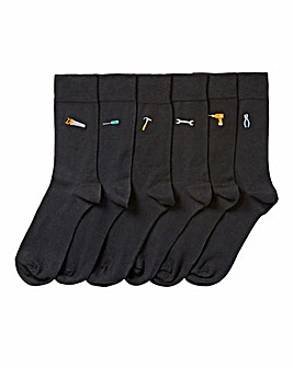 Pack of 6 Black Tool Embroidery Socks