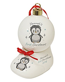 Personalised Baby's First Christmas Bauble & Bootee