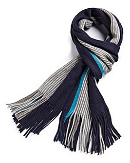 Navy Block Stripe Tassle Scarf