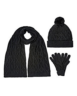 Black Cable Knit Hat, Scarf & Gloves Set