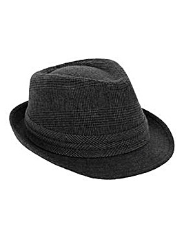 Grey Check Trilby Hat