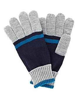 Grey/Teal Colour Block Gloves