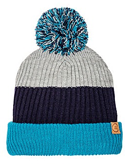 Grey/Teal Colour Block Bobble Hat