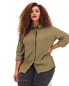 Khaki Embellished Shoulder Utility Shirt