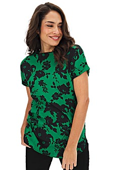 Green Floral Print Boxy Top