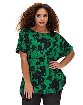 Green Floral Print Boxy Top