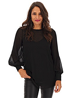 Black Dobby Long Sleeve Tunic