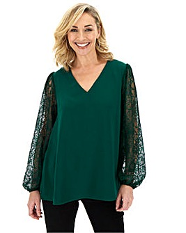 Bottle Green Lace Sleeve V-Neck Top