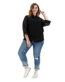 Black Sheer Sleeve Blouse
