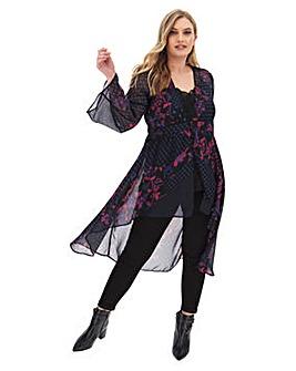 Black Floral Cover Up Kimono