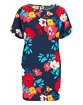 Navy Floral Print Longer Length Boxy Top