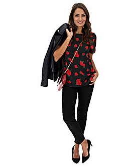 Red Rose Print Satin Jacquard Boxy Top