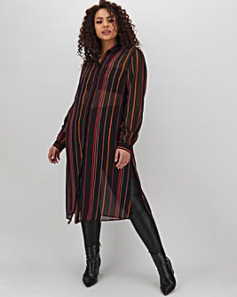Orange Stripe Longline Shirt
