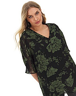Floral V Neck Jersey Lined Blouse