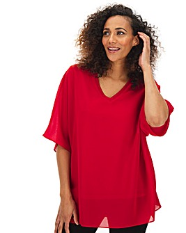 Dark Red V Neck Jersey Lined Blouse