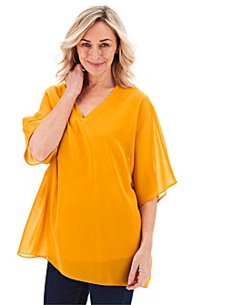 Ochre V Neck Jersey Lined Blouse