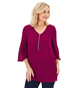 Magenta Zip Front Fluted Sleeve Blouse