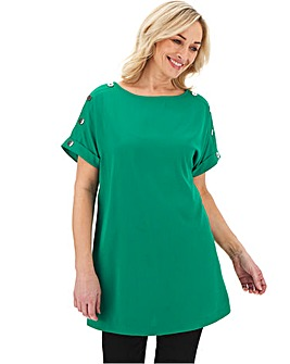 Green Button Detail Longline Woven Top