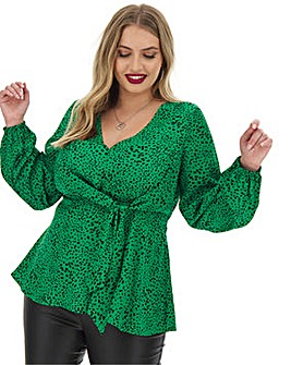 Green Spot V-Neck Tie Front Blouse
