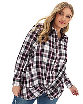 Twist Front Check Shirt