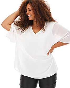 Ivory V Neck Jersey Lined Blouse