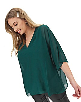 Bottle Green V Neck Jersey Lined Blouse
