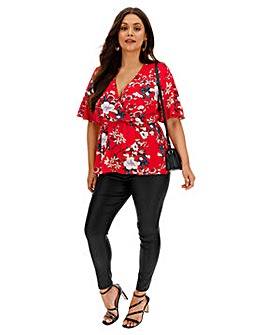 Red Floral Short Sleeve Wrap Top