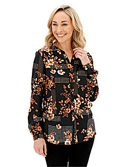 Black Floral Print Grandad Collar Viscose Shirt