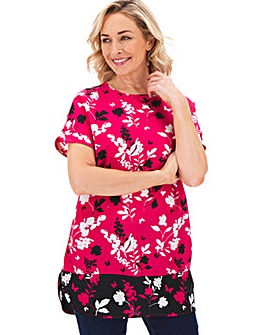Butterfly Print Floral Boxy Top