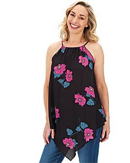 Black Floral Print Hanky Hem Top