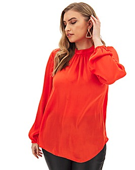 Red Satin High Neck Blouse