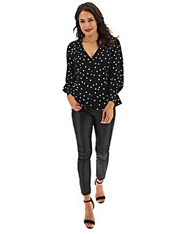 Black Polka Dot Tea Blouse