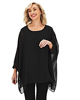 Black Long Sleeve Hanky Hem Blouse