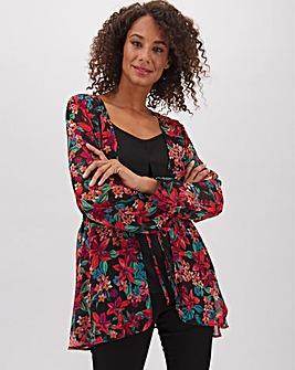 Floral Print Tie Front Kimono