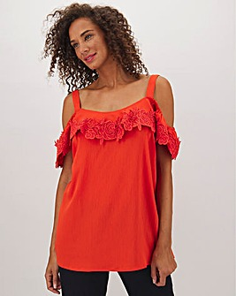 Deep Orange Lace Trim Bardot