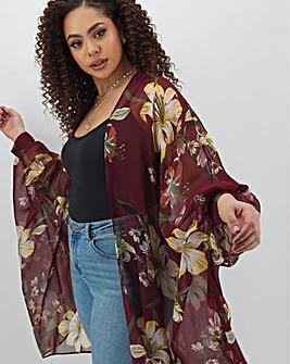 Printed Cuffed Batwing Kimono