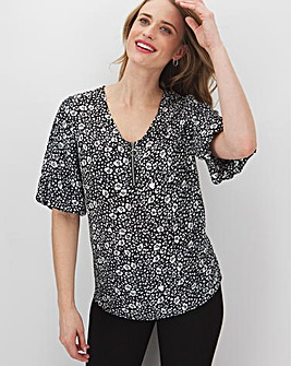 Mono Print Puff Sleeve Zip Front Blouse
