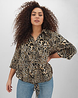 Animal Print Tie Waist Button Blouse
