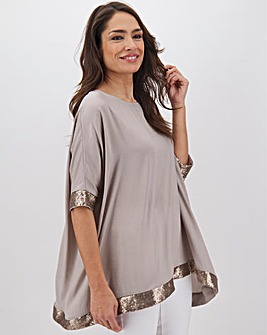Light Grey Sequin Hem Oversized Top
