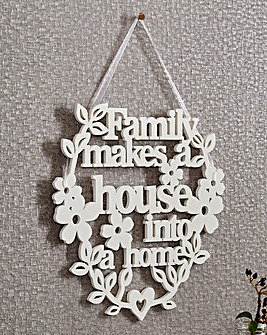 Family Carved Sentiment Wall Hanging