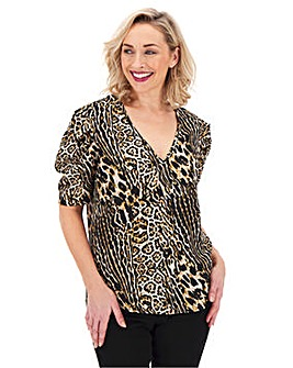 Leopard Print Puff Sleeve V Neck Top