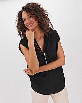 Black Ladder Insert Zip Front Top