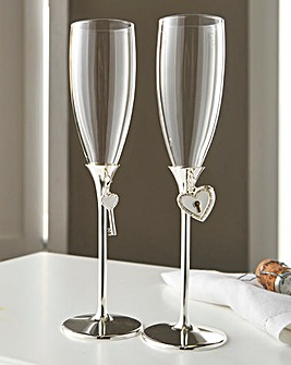 Silver Plated Lock & Key Toasting Flutes