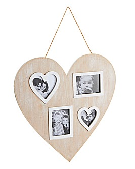 Wooden Heart Multi Aperture Photo Frame