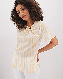 Ochre Stripe Asymmetric Ring Detail Top